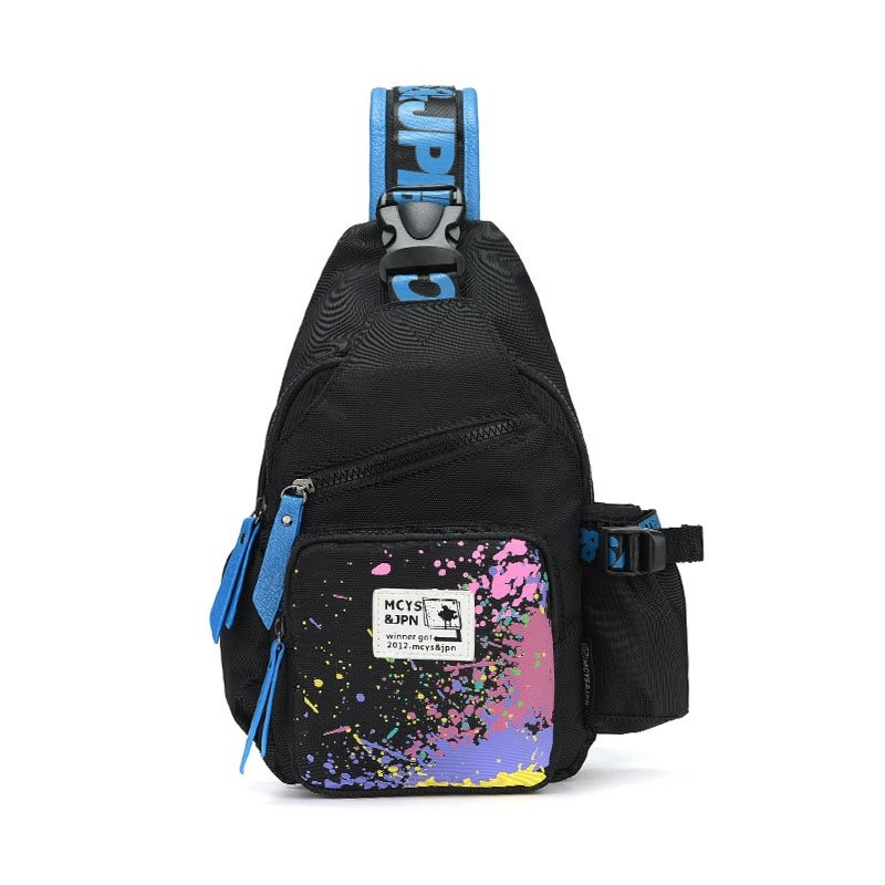 Black Polyester with Blue Trim Men Small Crossbody Shoulder Chest Bag Personalized Colorful Paint Splatter Casual Travel Sling Backpack
