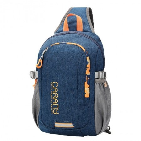 Sturdy Navy Blue Polyester Masculine Boys Crossbody Shoulder Chest Bag Stylish Monogrammed Print Casual Travel Hiking Sling Backpack