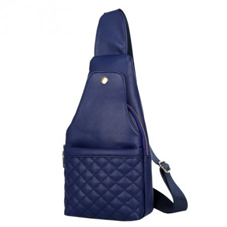 Dark Blue Faux Leather Quilted Women Crossbody Shoulder Chest Bag Hipster Sewing Pattern Casual Travel Hiking Cycling Sling Backpack
