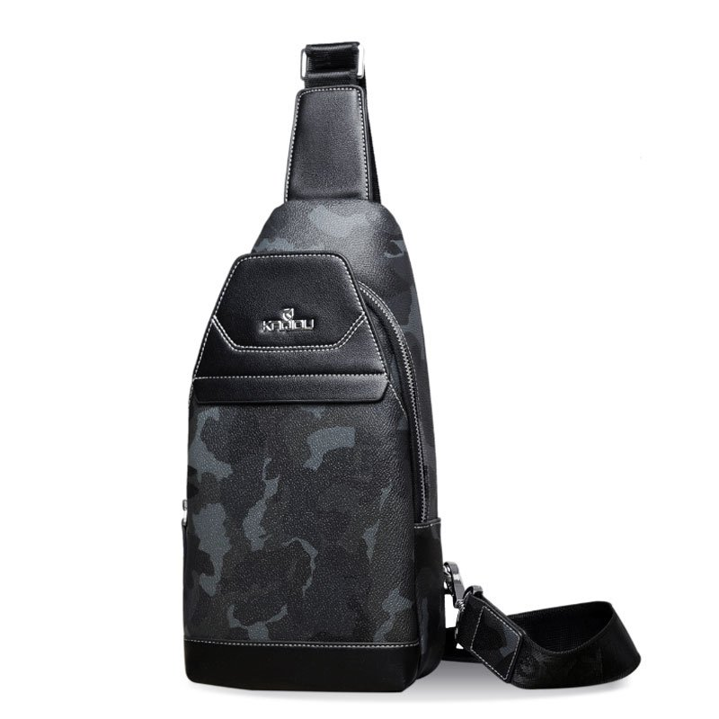 Vintage Black and Gray Patent Leather Men Crossbody Shoulder Chest Bag Military Camouflage Print Travel Hiking Cycling Sling Backpack