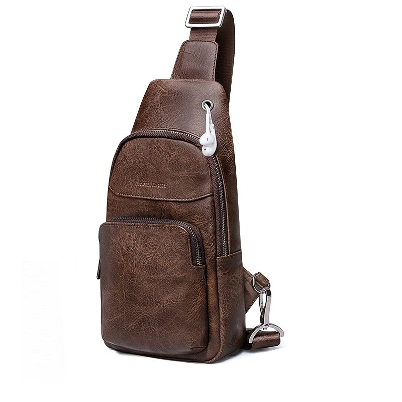 Vintage Chocolate Brown Men Small Crossbody Shoulder Chest Bag Distressed  Waxed Genuine Cowhide Leather Sling Travel Hiking Backpack d2b9eeeba5a84
