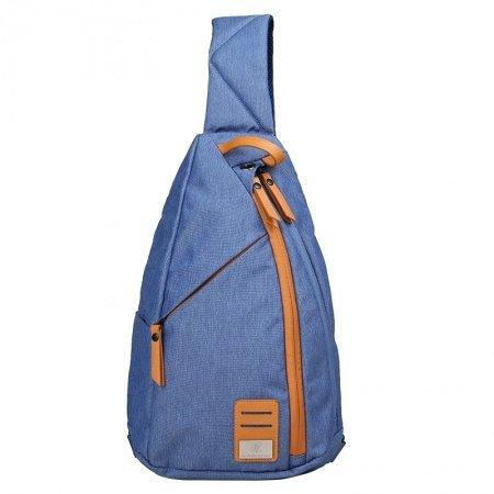 Navy Blue Oxford with Orange Trim Men Crossbody Shoulder Chest Bag Vintage Sewing Pattern Large Travel Hiking Cycling Sling Backpack