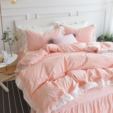 Noble Excellence Coral Pink and White Ruched Romantic Shabby Chic Girly Girls Soft Flannel Twin, Full, Queen Size Bedding Sets