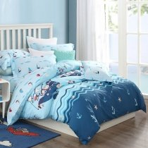 Naby Blue White Red and Aqua Pirate Sailboat Anchor Whale Starfish Print Ocean Nautical Themed Kids Twin, Full, Queen Size Bedding Sets