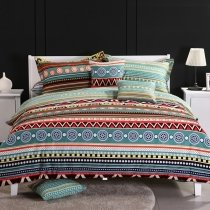 Bohemian Style Sage Green Red Orange Yellow and Brown Vintage Gypsy Aztec Tribal Print Unique Adults Full, Queen Size Bedding Sets