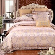 Champagne and Lavender Rococo Pattern Moroccan Inspired Victorian Style Embroidered Jacquard Satin Full, Queen Size Bedding Sets