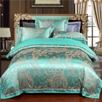 Emerald Green and Gold Indian Inspired Exotic Bohemian Style Royalty Luxury Jacquard Satin Full, Queen Size Bedding Sets