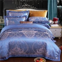 Boutique Royal Blue and Gray Fancy Indian Pattern Modern Chic Noble Excellence Luxury Full, Queen Size Bedding Sets