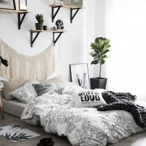 Hipster Black and White Sketch Leaf Print Shabby Chic Unique Abstract Twin, Full, Queen Size Bedding Sets for Teens
