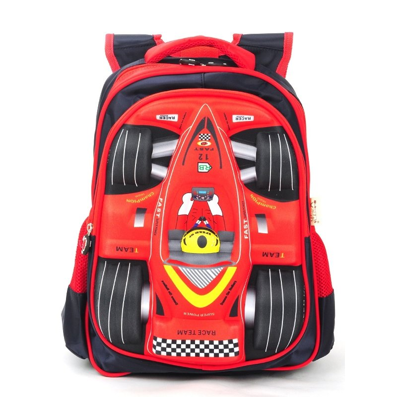 61bcdef86b Cool Black and Coral Red Oxford Boys Pupil Preppy School Book Bag  Personalized Racing Car-shaped Campus Backpack