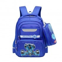Sapphire Blue and Turquoise Polyester Boys Pupil School Book Bag Unique Cool Racing Car Kids Quilted Campus Backpack