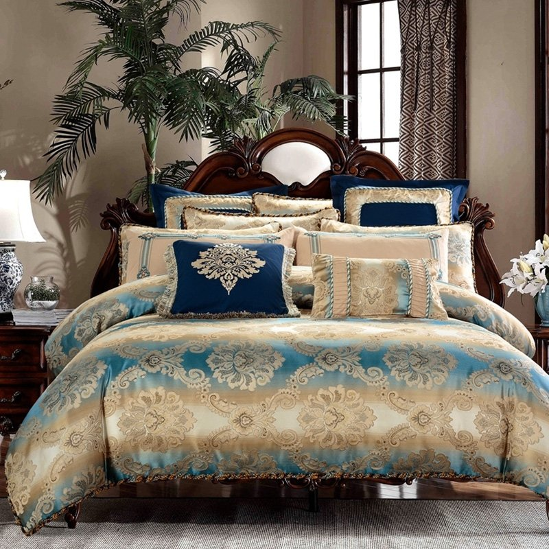 Blue Gothic Pattern Luxury Royal Style, Royal Blue And Gold Bedding Sets