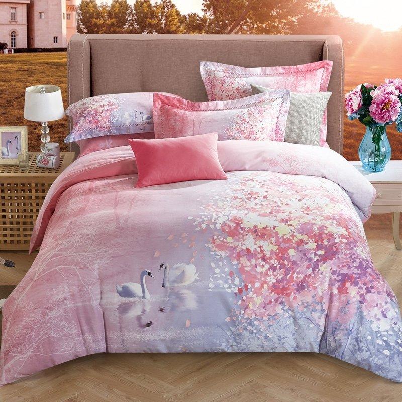 Cute Swan Pastel Ombre Style Romantic, Ombre Bedding Set Queen