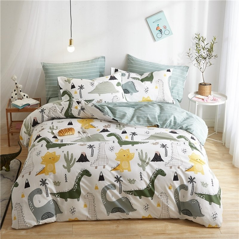 Gray Yellow And White Dinosaur Cute, Queen Size Dinosaur Bedding Set