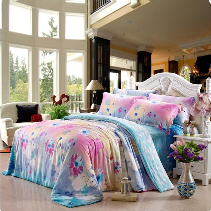 Turquoise Green Pink and Blue Abstract Chic Floral Print Full, Queen Size 100% Tencel Lyocell Bedding Sets