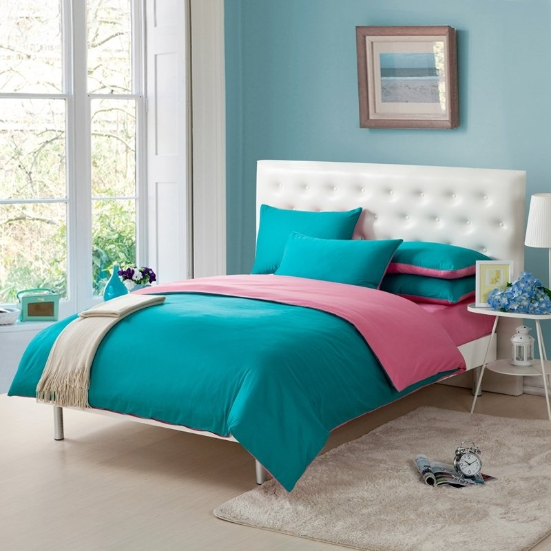 Pink And Teal Blue Simply Shabby Chic Full Queen Size Girls Bedroom 100 Cotton Bedding Sets Enjoybedding Com
