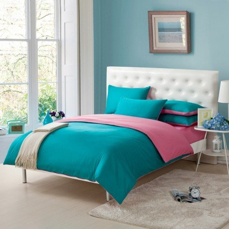 Pink and Teal Blue Simply Shabby Chic Full, Queen Size Girls Bedroom 100% Cotton Bedding Sets