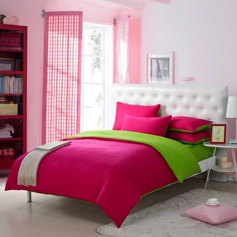 Girls Dark Hot Pink and Grass Green Solid Pure Color Simply Shabby Chic Full, Queen Size Bedding Sets