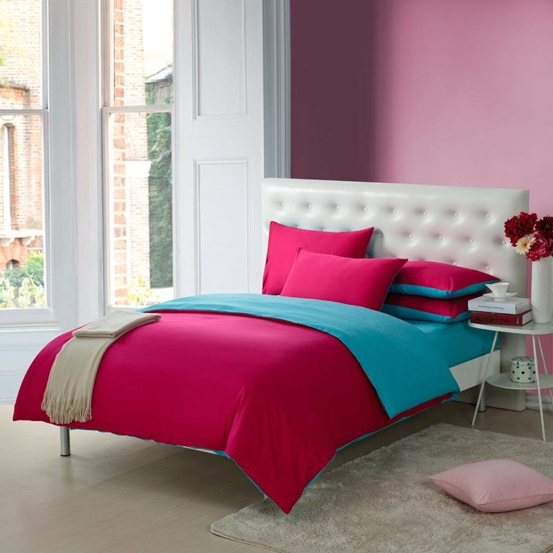 Dark Hot Pink and Teal Blue Pure Color Simply Shabby Chic 100% Cotton Full, Queen Size Bedding Sets