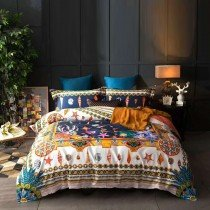 Deep Blue Gold and White Seashell and Tribal Print Southwestern Style Full, Queen Size Bedding Sets