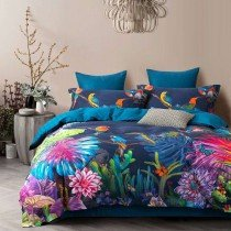 Deep Blue Rose Red and Green Bird and Leaf Print Tropical Country Chic Animal Themed Full, Queen Size Bedding Sets