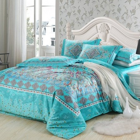 Turquoise and Red Southwestern Style Unique Floral Pattern Vogue Tribal Print 100% Egyptian Cotton Full, Queen Size Bedding Duvet Cover Sets