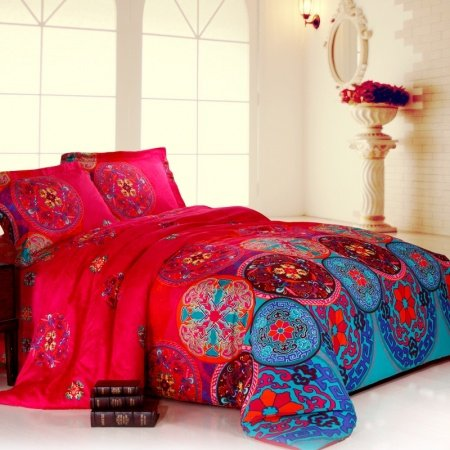 Blue and Red Modern Chic Tribal Circle Print 100% Egyptian Cotton Full, Queen Size Bedding Sets