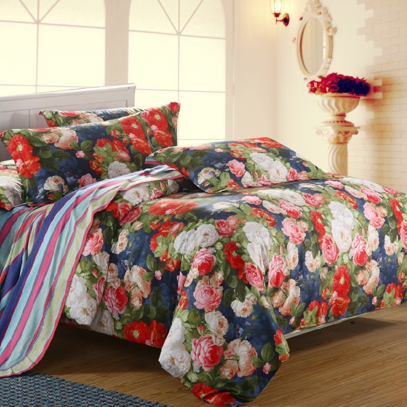 Navy Blue Green and Red Antique Rose Garden Images 100% Egyptian Cotton Full, Queen Size Bedding Sets