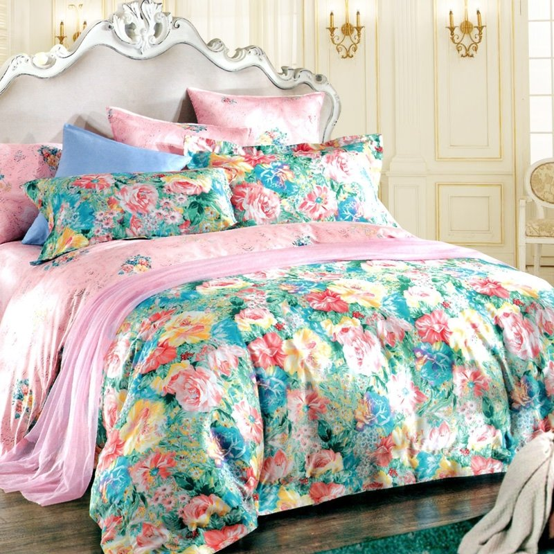 Forest Green and Pink Vintage Flower Western Garden Luxury Girls 100% Egyptian Cotton Full, Queen Size Bedding Sets