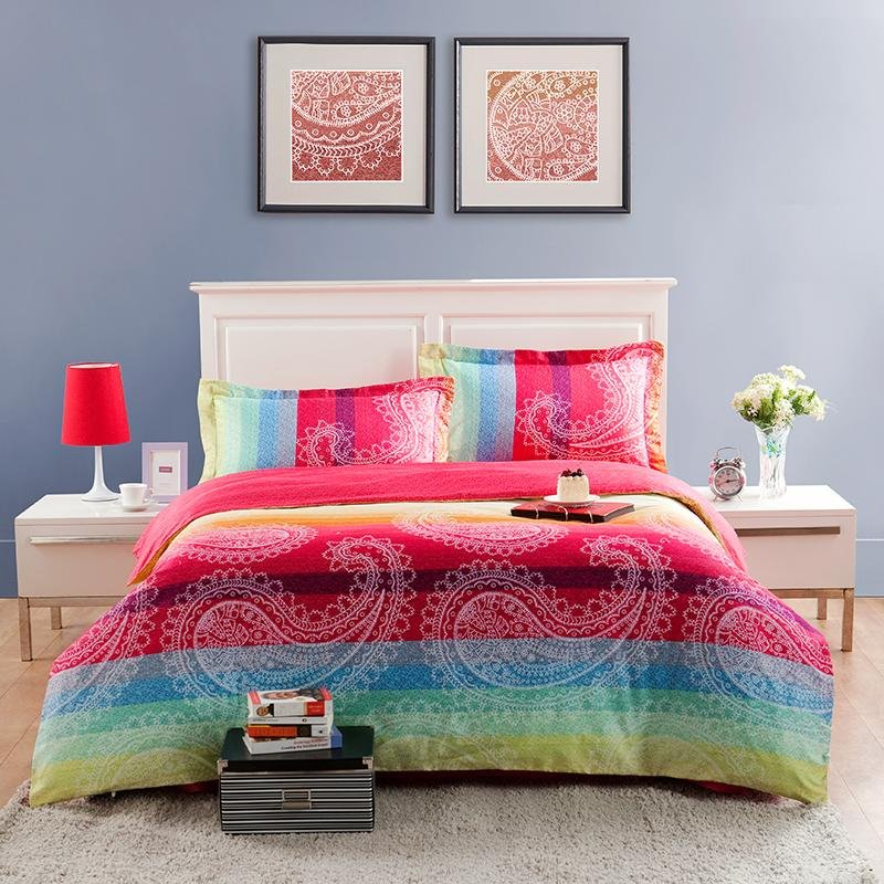 Red Yellow and Aqua BLue Large Paisley Pop Print Full, Queen Size Modern Chic Bedding Sets