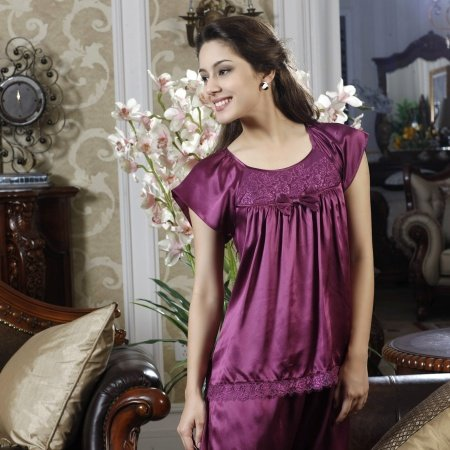 Purple Beautiful Sexy Lady Lace Crewneck 100% Mulberry Silk Pajamas