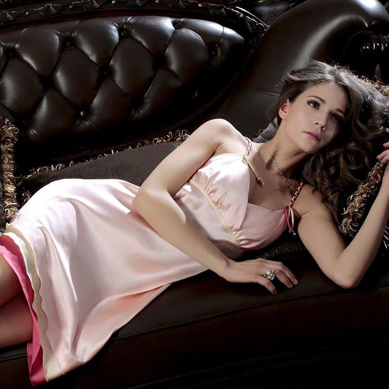 Sexy Slips Solid Chic Luxurious V-neck Straps Sleeveless Silk Pajamas Sleepwear