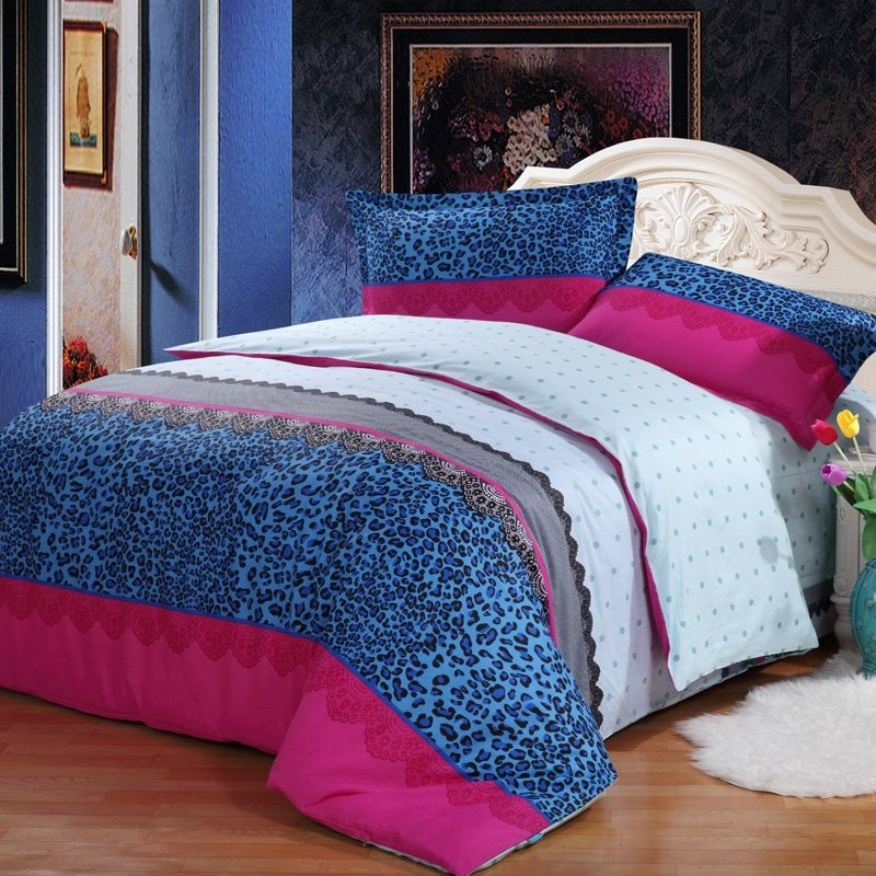 Teal Blue and Hot Pink Sexy Cheetah and Polka Dot Print Full, Queen Size 100% Cotton Bedding Sets