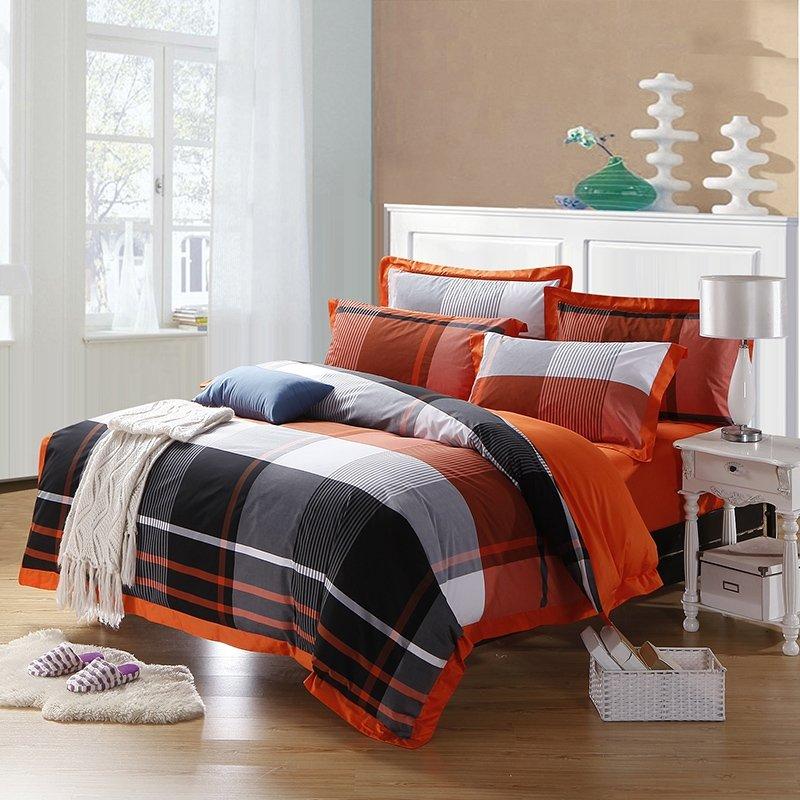 Black Orange and White Southwestern Buffalo Checked Print Full, Queen Size 100% Egyptian Cotton Bedding Sets