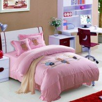 Pink Three Cartoon Bear Print Cute and Chic Girls 100% Cotton Full Size Bedding Duvet Cover Sets