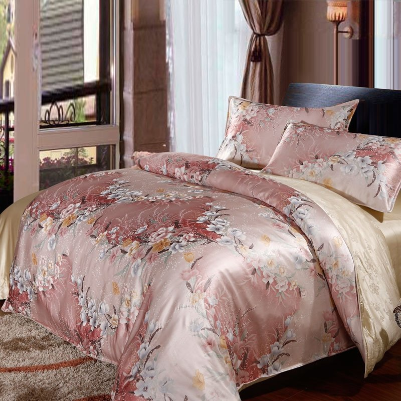 Pink and White Oriental Chinese Inspired Vintage Floral Print 100% Mulberry Silk Full, Queen Size Bedding Sets