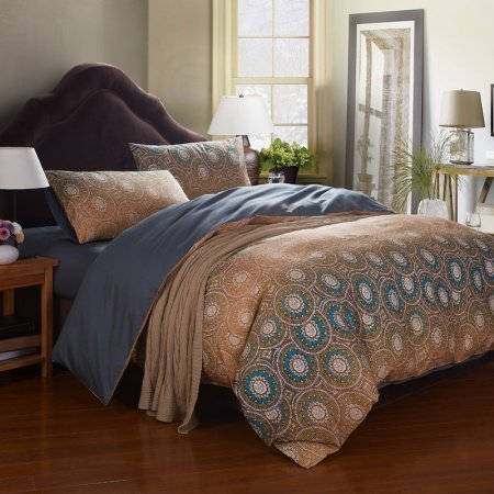 Light Tan and Teal Blue Concentric Circles Personalized Indian Tribal Print 100% Cotton Full, Queen Size Bedding Sets