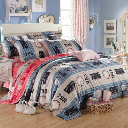 Blue Beige and Red Circle and Monogrammed Traditional Stripe Modern Chic Luxury Soft 100% Egyptian Cotton Full, Queen Size Bedding Sets
