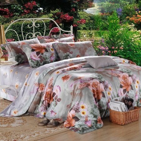 Grey Green and Chocolate Luxury Exotic Jungle Safari Themed Retro Flower Garden 100% Egyptian Cotton Full, Queen Size Bedding Sets