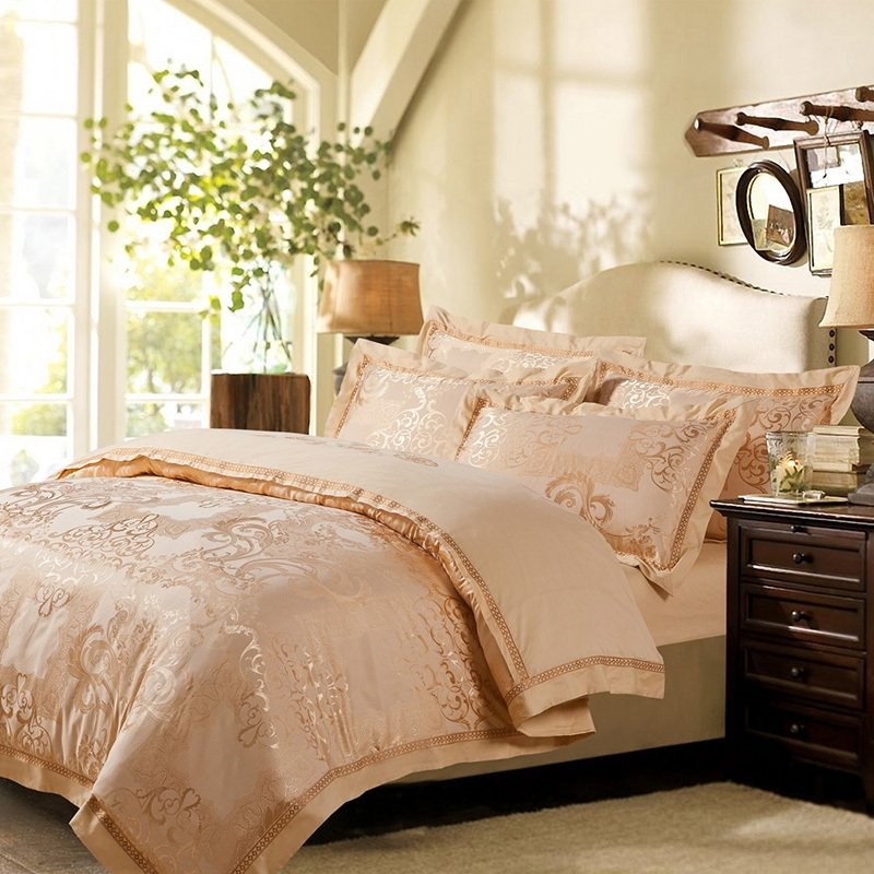 Tawny Gorgeous and Noble Royal Classic Style Indian Tribal Noble Jacquard Design 100% Cotton Satin Full, Queen Size Bedding Sets
