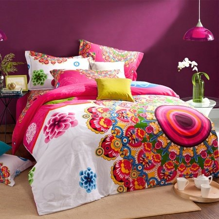Pink White and Orange Bright Colorful A Peacock in His Pride Exotic Tribal 100% Brushed Cotton Full, Queen Size Bedding Sets