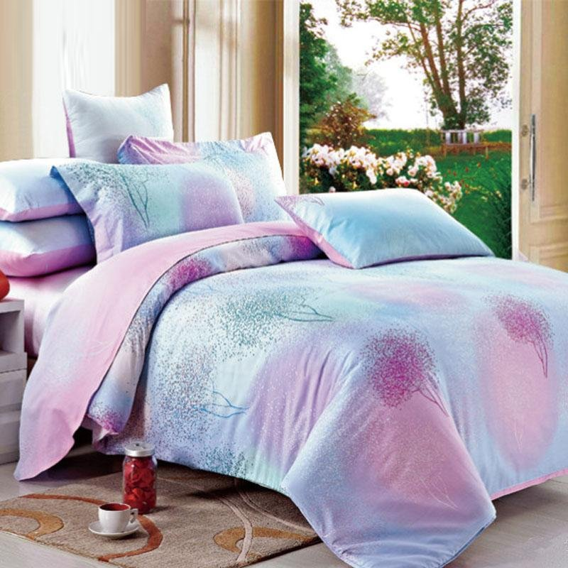 Pink Purple and Blue Romantic Warm Floral Print Fresh World Nature Rustic Chic 100% Cotton Twin, Full, Queen Size Bedding Sets