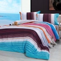 Blue Brown White and Purple Colorful Stripe Contemporary Novelty Reactive Printed Twin, Full, Queen Size Bedding Sets