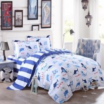 Cobalt Blue and White Shark Fish Ocean Wonders Marine Life and Stripe Print Cute Kids Boys Girls Full Size Bedding Sets