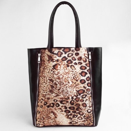 Coffee Brown Black and Tan Vintage Chic Personalized Animal Leopard Print Casual Party Faux Leather( PU ) Lady Medium Composite Bag Tote Bag