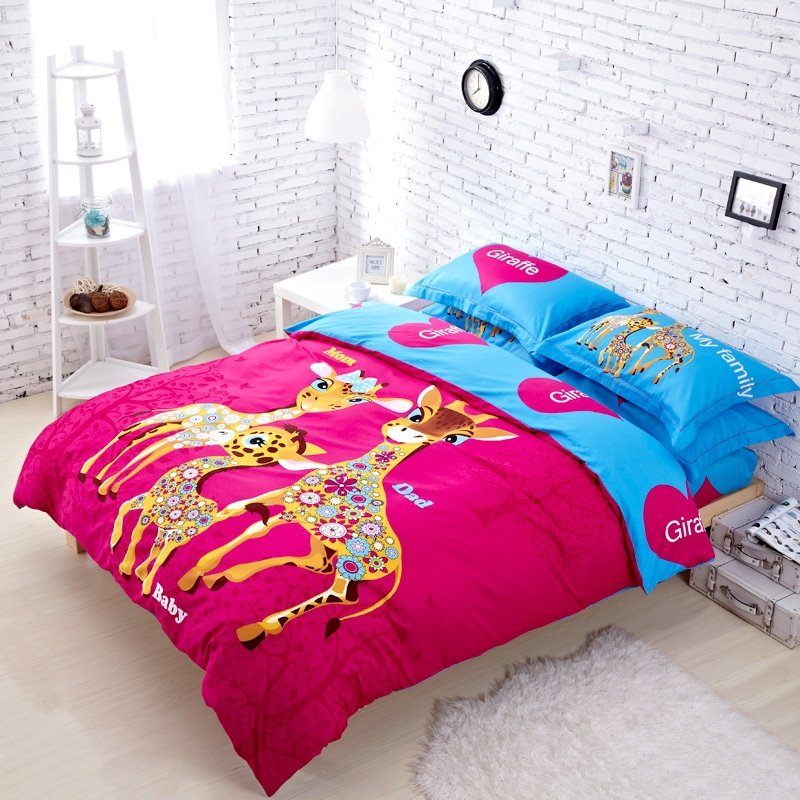 Hot Pink and Blue Cartoon Giraffe Print Animal Style Full, Queen Size Bedding Sets