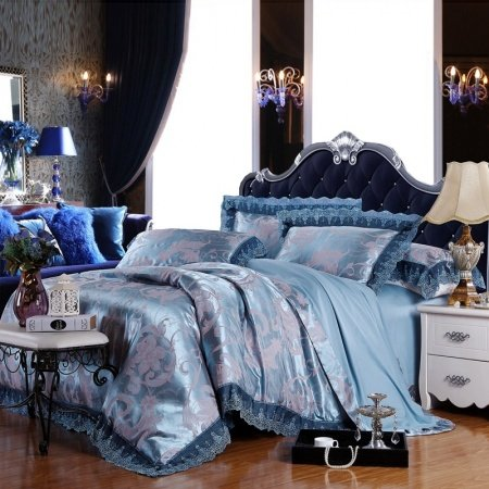 Baroque Blue Silver and Gray Rustic Lily Floral Luxury Elegant and Noble Lace Edge Jacquard Design Full, Queen Size Bedding Sets