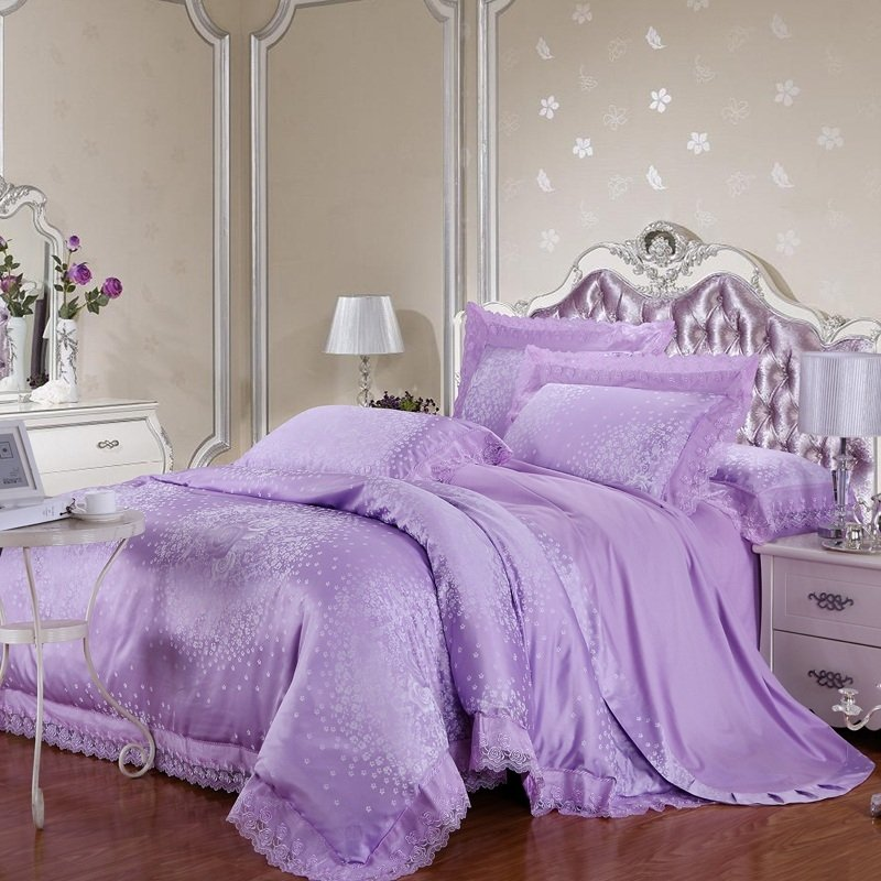 Lilac and Silver Snowflakes Pattern Victorian Rose Elegant Personalized Lace Edge Jacquard Design Girls Full, Queen Size Bedding Sets