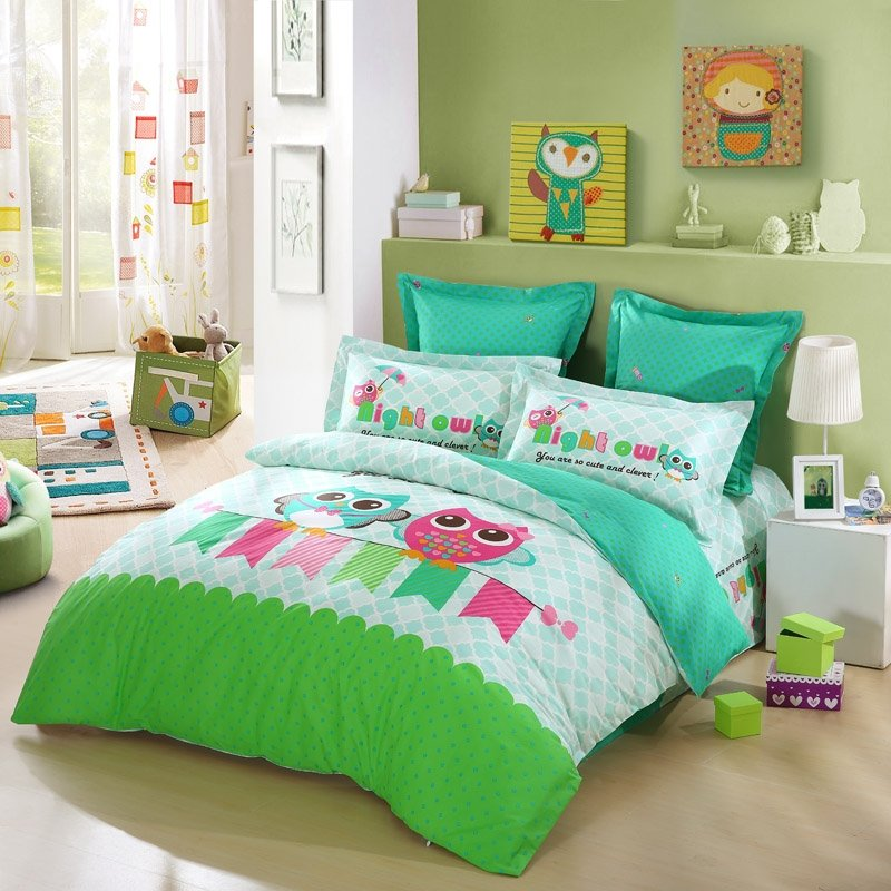 Lime Green Turquoise Blue And Pink Cartoon Night Owl Print