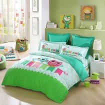 Lime Green Turquoise Blue and Pink Cartoon Night Owl Print Jungle Animal Nature Kids, Girls, Boys Damask Twin, Full Size Bedding Sets